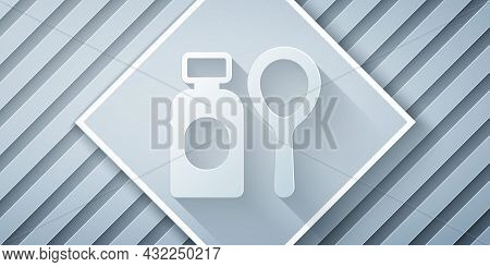 Paper Cut Soap Bubbles Bottle Icon Isolated On Grey Background. Blowing Bubbles Soap Wand Bottle. Pa