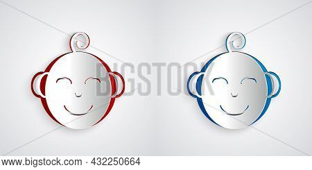 Paper Cut Happy Little Boy Head Icon Isolated On Grey Background. Face Of Baby Boy. Paper Art Style.