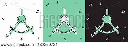 Set Drawing Compass Icon Isolated On White And Green, Black Background. Compasses Sign. Drawing And