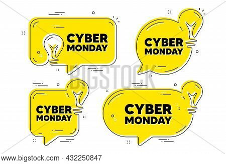 Cyber Monday Sale Text. Idea Yellow Chat Bubbles. Special Offer Price Sign. Advertising Discounts Sy