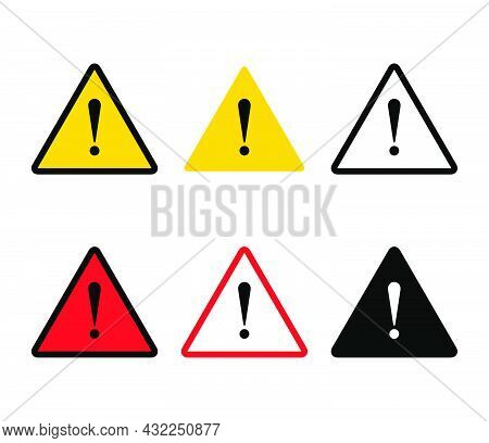 Danger Symbol Sign. Triangle With Exclamation Mark Icon.  Yellow And Red Hazard Attention Beware. Ve