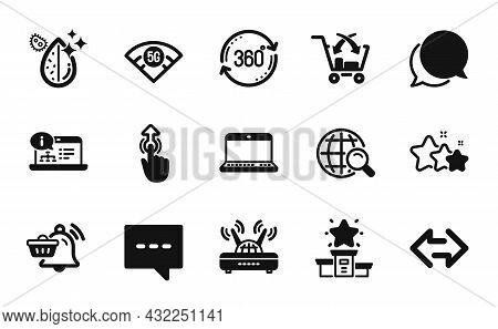 Vector Set Of Wifi, Winner Podium And Notebook Icons Simple Set. Internet Search, Swipe Up And Notif