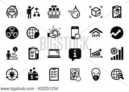Vector Set Of Science Icons Related To Environment Day, Recovery Phone And Medical Analyzes Icons. I