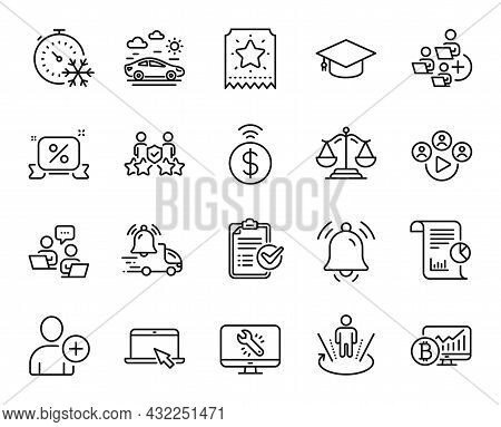 Vector Set Of Bitcoin Chart, Justice Scales And Augmented Reality Line Icons Set. Portable Computer,