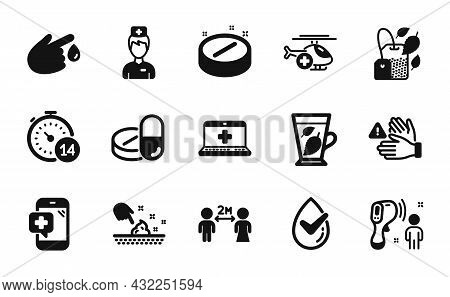 Vector Set Of Medical Drugs, Skin Moisture And Mint Leaves Icons Simple Set. Medical Help, Quarantin