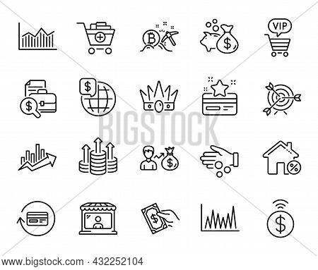 Vector Set Of Growth Chart, Contactless Payment And Crown Line Icons Set. Money Diagram, Vip Shoppin