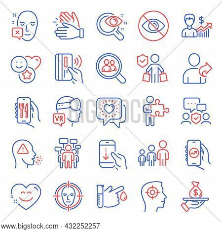 People Icons Set. Included Icon As Friends Chat, Clapping Hands, Security Agency Signs. Smile Chat,