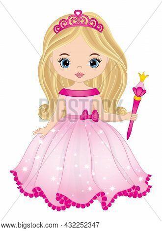 Cute Beautiful Princess Wearing Pink Long Dress, Tiara And Holding Magic Wand. Princess Is Blond Wit