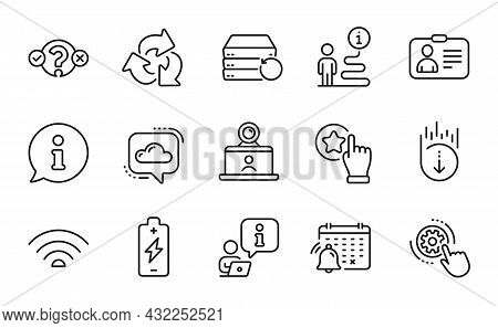 Technology Icons Set. Included Icon As Recycle, Battery Charging, Recovery Server Signs. Rate Button