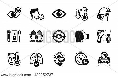 Vector Set Of Covid Test, Low Thermometer And Eye Target Icons Simple Set. Face Id, Check Eye And Co