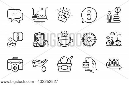 Business Icons Set. Included Icon As Coffee Cup, Bumper Cars, Puzzle Game Signs. Idea, Prescription