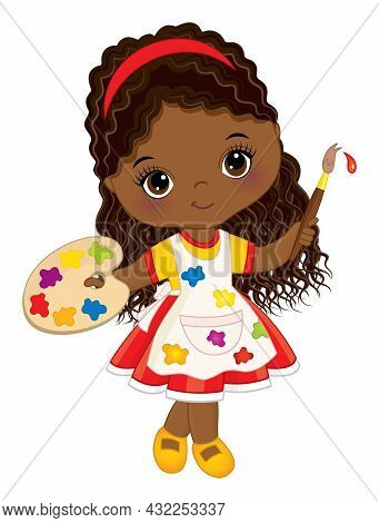 Vector Cute Little African American Girl Painting. Little Black Girl With Palette And Paint Brush. L