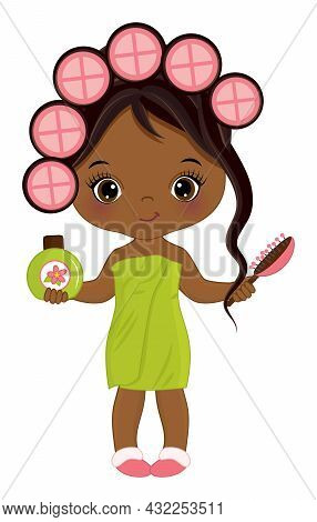 Vector Cute African American Girl Wrapped In Towel. Little Girl Curling The Hair And Holding Hair Br