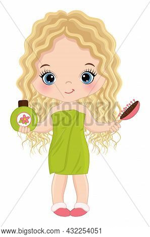 Vector Little Girl Wrapping In Towel, Holding Hair Brush And Shampoo. Cute Girl Is Blond With Long H