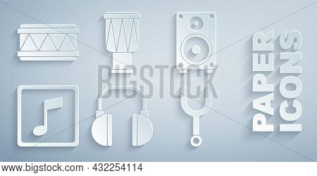 Set Headphones, Stereo Speaker, Music Note, Tone, Musical Tuning Fork, Drum And Icon. Vector