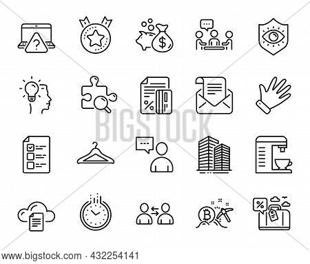 Vector Set Of Idea, Mail Newsletter And Travel Loan Line Icons Set. Hand, Users Chat And Online Ques