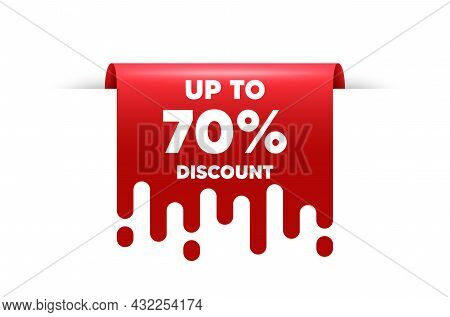 Up To 70 Percent Discount. Red Ribbon Tag Banner. Sale Offer Price Sign. Special Offer Symbol. Save