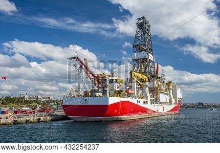 Istanbul, Turkey - September 4, 2021: Yavuz Turkish Drillship Mooring On Haydarpasa Port. Yavuz Ship