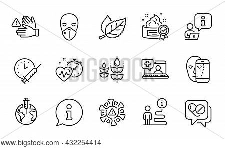 Healthcare Icons Set. Included Icon As Coronavirus, Cream, Pandemic Vaccine Signs. Medical Mask, Glu