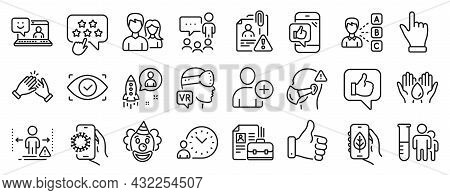 Set Of People Icons, Such As Like, Medical Mask, Time Management Icons. Teamwork, Click Hand, Opinio