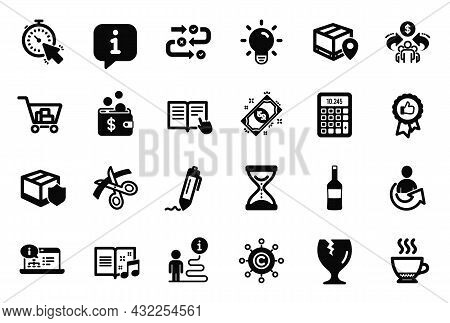 Vector Set Of Simple Icons Related To Internet Shopping, Fragile Package And Music Book Icons. Espre