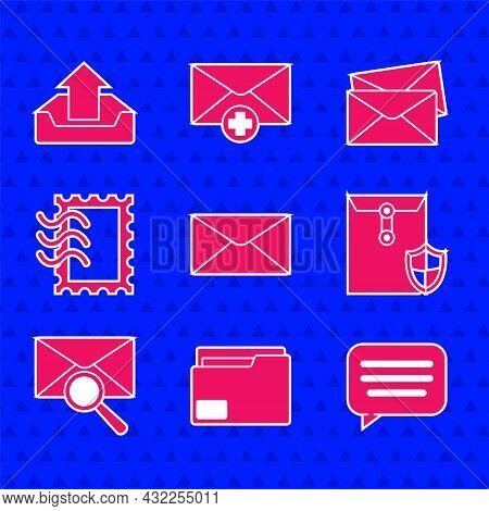Set Envelope, Document Folder, Speech Bubble Chat, With Shield, Magnifying Glass, Postal Stamp, And
