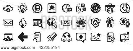 Set Of Technology Icons, Such As Target Path, Credit Card, Select Alarm Icons. Left Arrow, Seo Analy