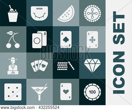 Set Casino Chips, Diamond, Playing Card With Clubs, Slot Machine Watermelon, Deck Of Playing Cards,
