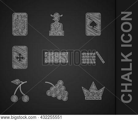 Set Stacks Paper Money Cash, Casino Slot Machine With Grape, King Playing Card, Chips, Cherry, Playi