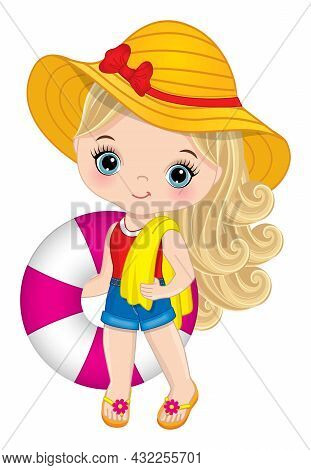 Cute, Beautiful Little Girl Wearing Shorts, T-shirt, Straw Hat And Flip-flops Holding Lifebuoy And B