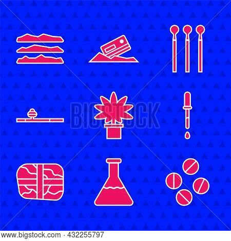 Set Marijuana Or Cannabis Plant In Pot, Test Tube And Flask, Medicine Pill Tablet, Pipette, Package
