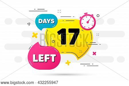 Seventeen Days Left Icon. Countdown Number On Abstract Flow Pattern. 17 Days To Go Sign. Count Offer
