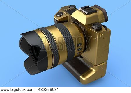 Concept Of Nonexistent Gold Dslr Camera With Macro Lens Isolated On Blue Background. 3d Rendering An