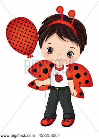 Cute Little Boy Wearing Ladybug Antenna And Outfit. Vector Ladybug. Dark-haired Little Boy With Air