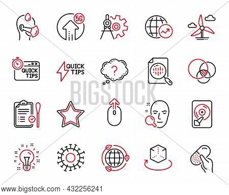 Vector Set Of Science Icons Related To Question Mark, Swipe Up And Hdd Icons. Star, Sick Man And Ide