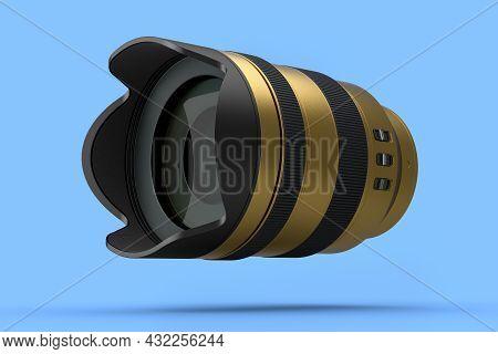 Modern Nonexistent Gold Dslr Macro Camera Lens On Blue Background. 3d Rendering And Illustration Of