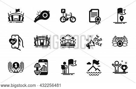 Vector Set Of Bicycle Parking, Leadership And Sports Arena Icons Simple Set. Arena, Cardio Training
