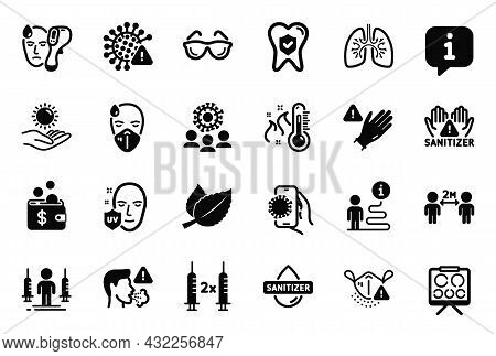 Vector Set Of Medical Icons Related To Coronavirus Vaccine, Use Gloves And Lungs Icons. Eyeglasses,