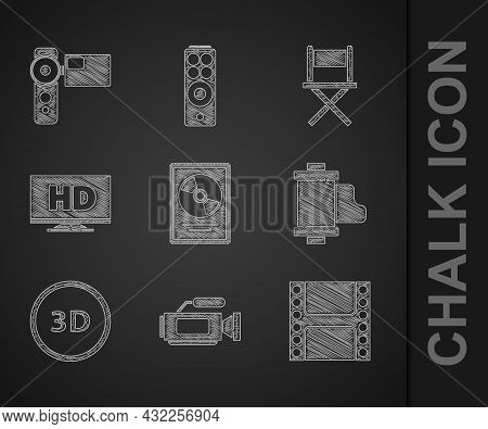 Set Cd Disk Award In Frame, Cinema Camera, Play Video, Camera Vintage Film Roll Cartridge, 3d Word,