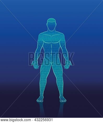 Binary Code Cyber Man - Digital Human Silhouette Composed With Ones And Zeros - Symbol For Artificia