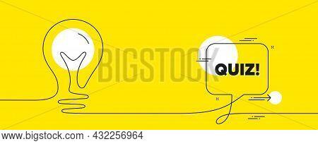 Quiz Text. Continuous Line Idea Chat Bubble Banner. Answer Question Sign. Examination Test Symbol. Q