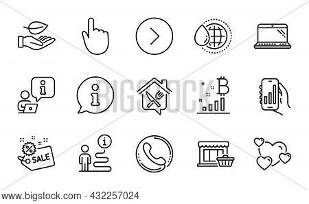 Business Icons Set. Included Icon As Food Delivery, Analysis App, Forward Signs. Leaf, Call Center,