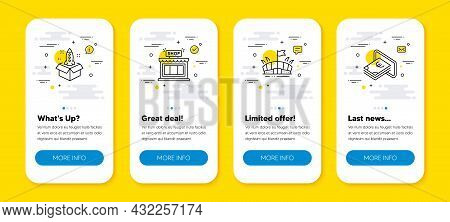 Vector Set Of Startup, Shop And Arena Line Icons Set. Ui Phone App Screens With Line Icons. Cash Ico