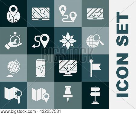 Set Road Traffic Sign, Location Marker, Magnifying Glass With Globe, Route Location, Compass, The An