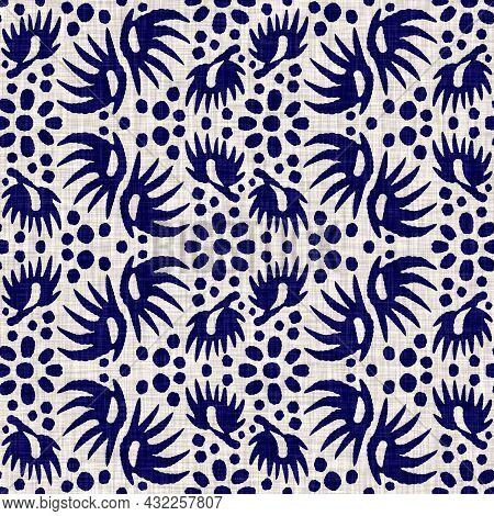 Indigo Blue Foliage Block Print Dyed Linen Texture Background. Seamless Woven Japanese Repeat Batik