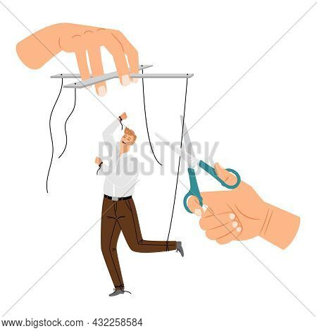 Manipulation Detach. Human Puppet Release, Business Man Liberation, Office Employee Marionette Free,