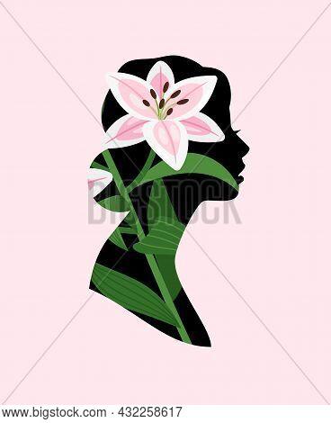 Flowers Woman Profile. Spring Female Portrait, Flower Face Girl Silhouette Icon, Beautiful Romantic