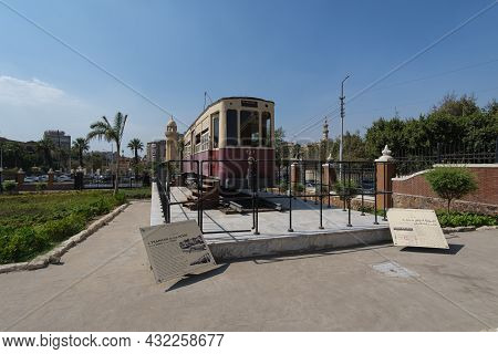 Cairo, Egypt- August 10 2021: An Old Renovated Tramcar From The Former Heliopolis Tramway Started In