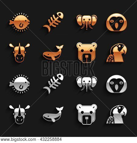 Set Whale, Owl Bird, Macaw Parrot, Bear Head, Rhinoceros, Elephant, Puffer Fish And Fish Skeleton Ic