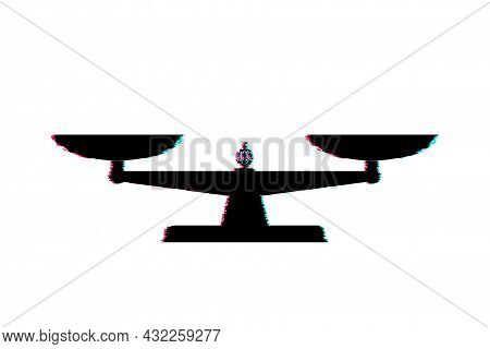 Scales Icon. Glitch Icon. Libra Isolated On White Background. Vector Illustration.